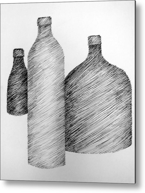Still Life Metal Print featuring the drawing Still Life With Three Bottles by Michelle Calkins