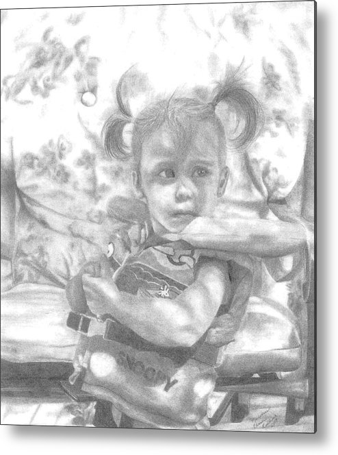 Graphite Metal Print featuring the drawing Summer Fun by Rhonda Rodericks