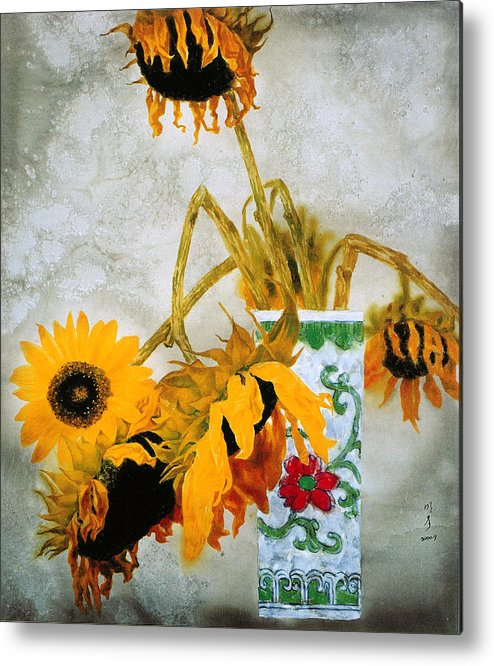 Painting Metal Print featuring the painting Sun Flowers No.1 by Minxiao Liu