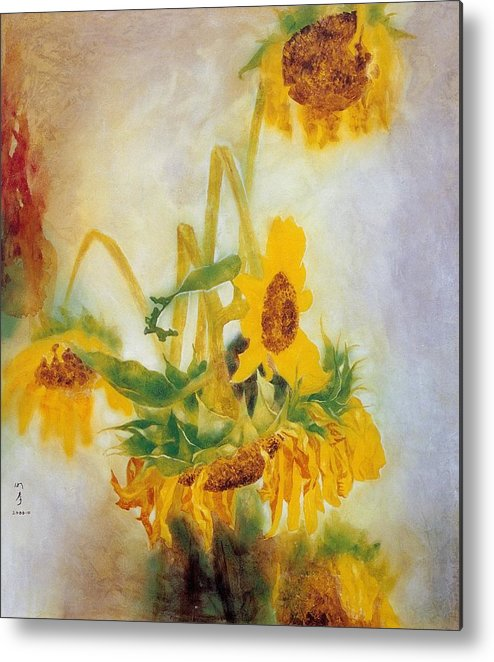 Flower Painting Metal Print featuring the painting Sun Flowers No.2 by Minxiao Liu