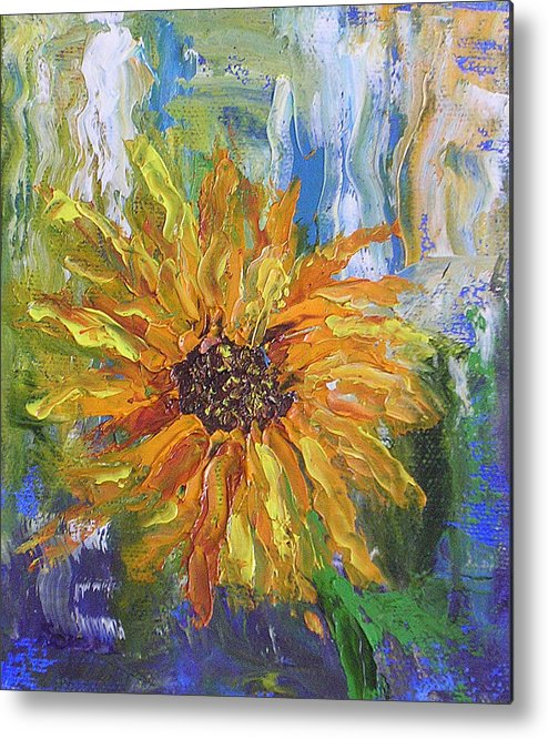 Sunflower Metal Print featuring the painting Sunflower Abstract by Barbara Harper