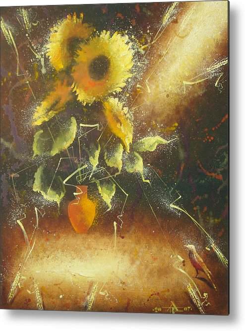 Still Life Metal Print featuring the painting Sunflowers by Andrej Vystropov