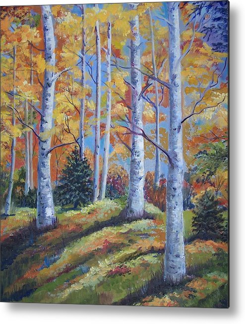 Autumn Foliage Metal Print featuring the painting The Birches by Audrie Sumner