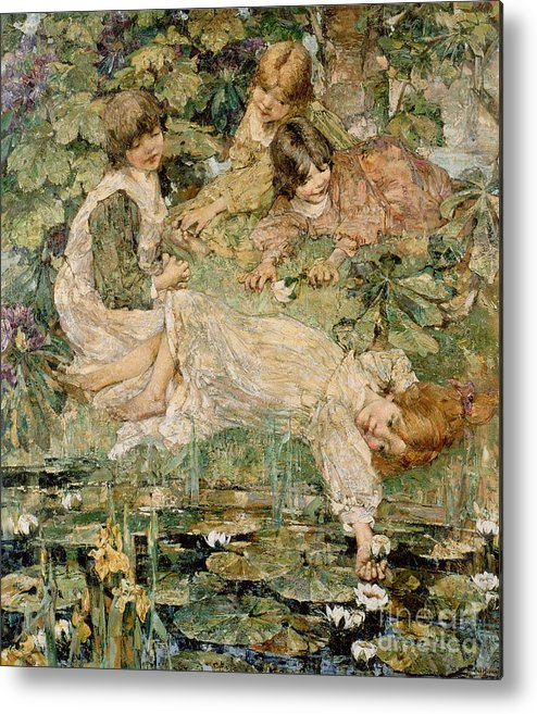 The Metal Print featuring the painting The Pool by Edward Atkinson Hornel