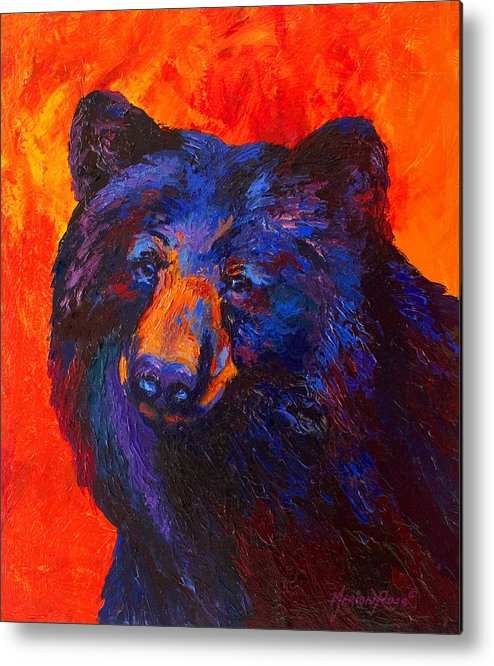 Bear Metal Print featuring the painting Thoughtful - Black Bear by Marion Rose