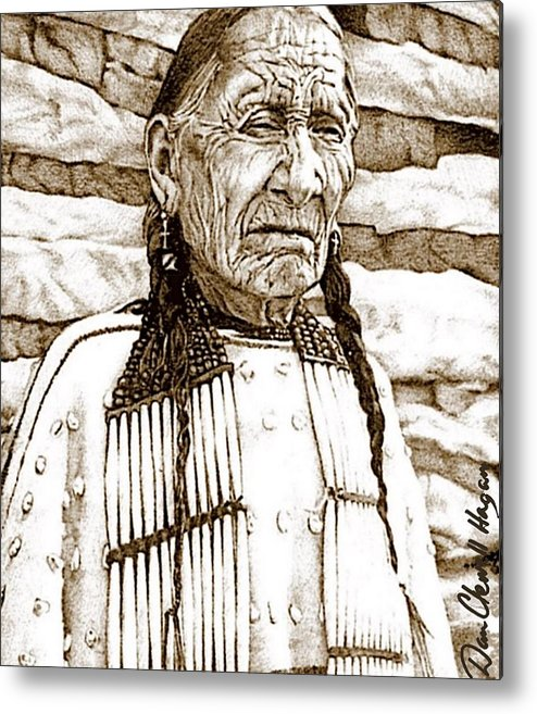 American Indian Metal Print featuring the drawing Unyoungindian by Dan Clewell
