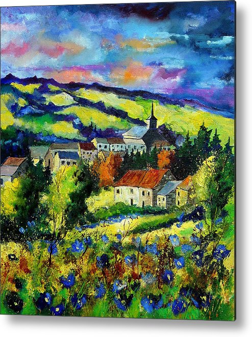 Landscape Metal Print featuring the painting Village And Blue Poppies by Pol Ledent