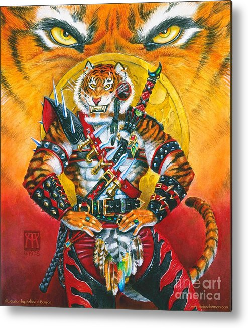 Fantasy Metal Print featuring the painting Werecat Warrior by Melissa A Benson