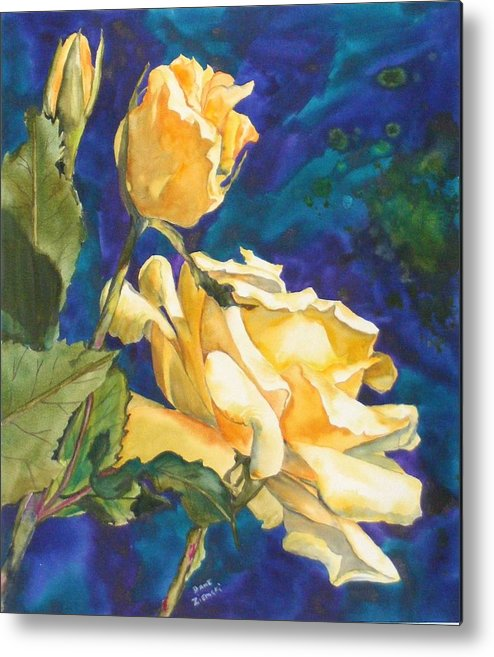 Metal Print featuring the painting Yellow Rose After Texas by Diane Ziemski