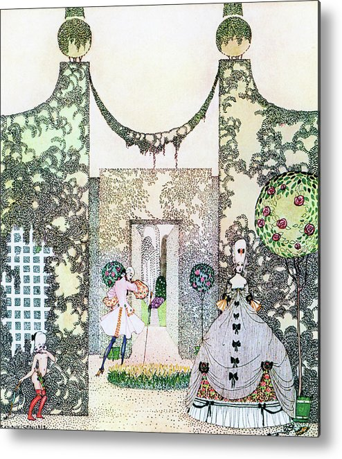 Princess Metal Print featuring the painting Cupid With Prince Mirrawlow And Court Ladies Who Are Playing In The Garden by Kay Nielsen