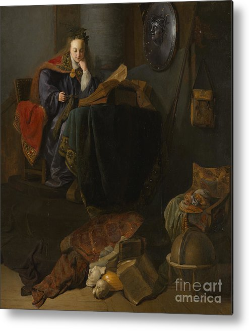 Rembrandt Metal Print featuring the painting Minerva, 1630 by Rembrandt