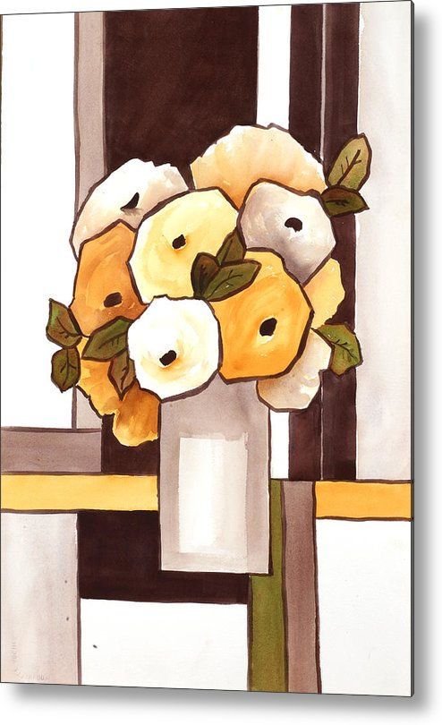 Painting Metal Print featuring the painting Beige And Brown Funny Flowers by Carrie Allbritton