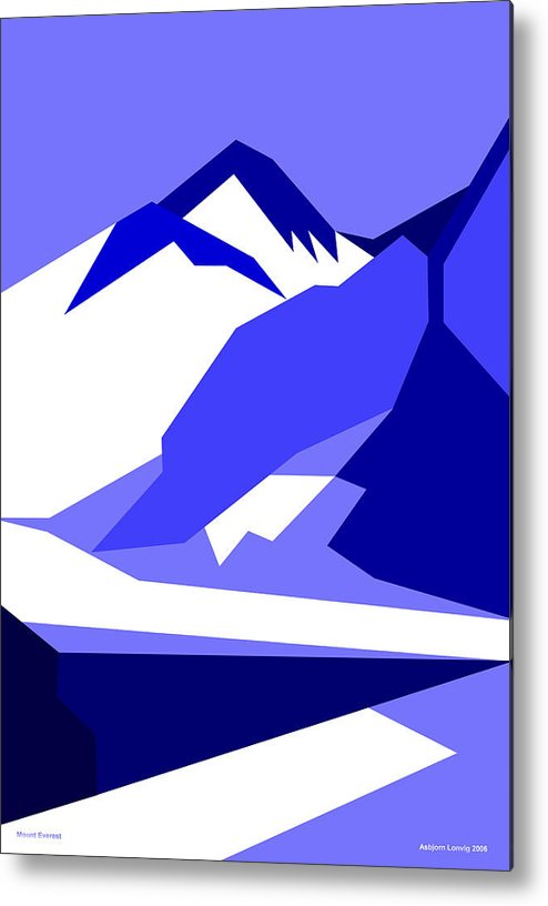 Everest Metal Print featuring the digital art Everest Blue by Asbjorn Lonvig