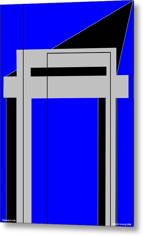 Gateway To Life Metal Print featuring the digital art Gateway To Life - Blue by Asbjorn Lonvig