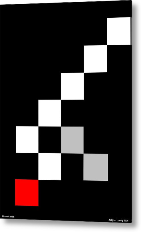 Chess Metal Print featuring the digital art I Love Chess by Asbjorn Lonvig