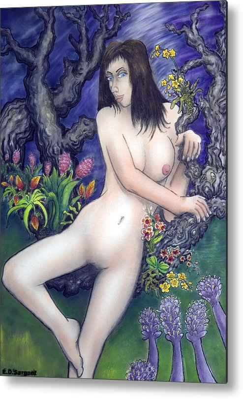 Nude Metal Print featuring the painting Pale Flale by Eddie Sargent