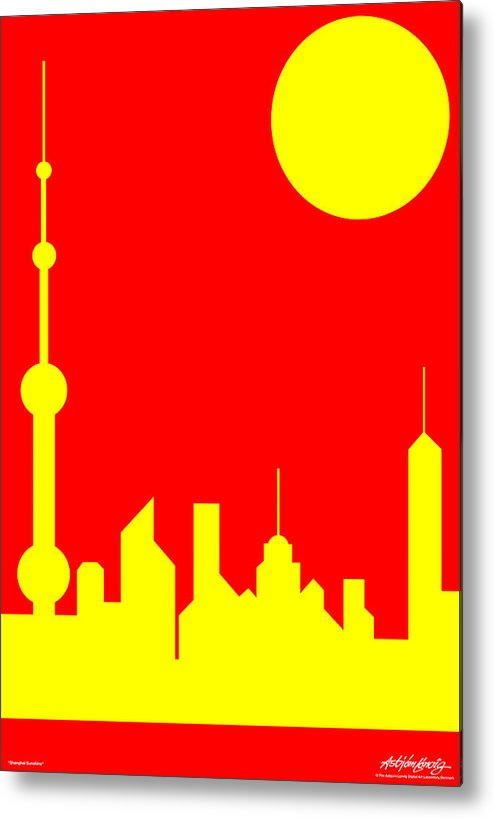 Metal Print featuring the digital art Shanghai Sunshine by Asbjorn Lonvig