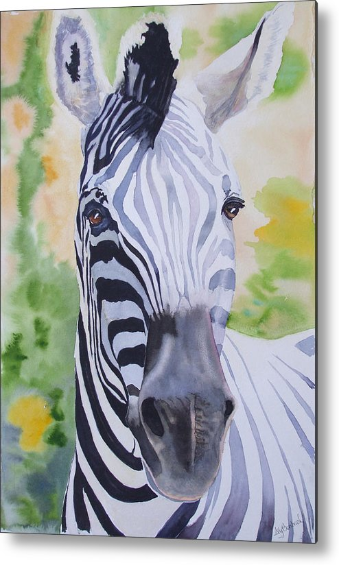 Zebra Metal Print featuring the painting Zebra Crossing by Ally Benbrook