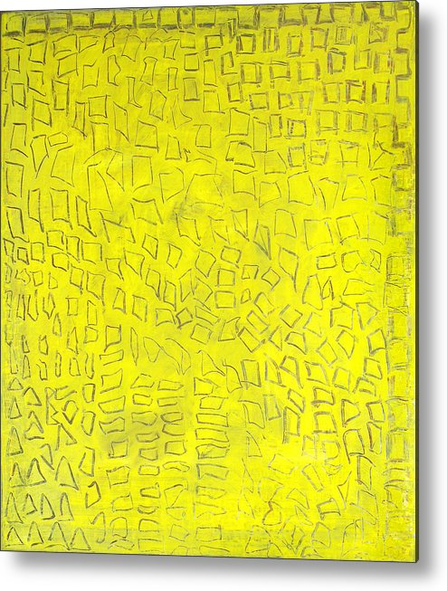 Abstract Golden City Yellow Signs Texts Hieroglyfs Alexander The Great Metal Print featuring the painting Alexandria by Joan De Bot
