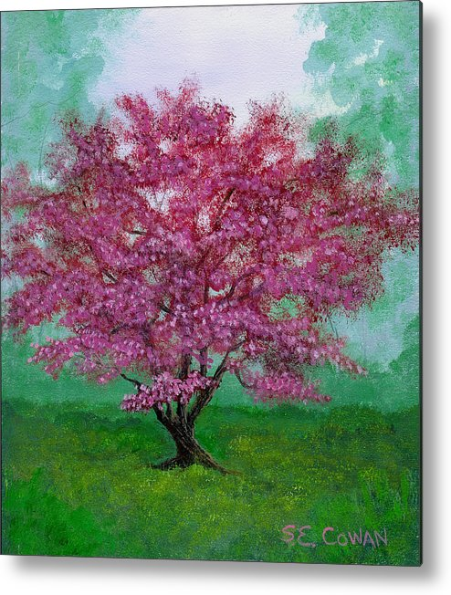 Landscape Metal Print featuring the painting Crabapple by SueEllen Cowan