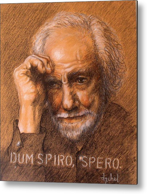 Old Man Metal Print featuring the painting Dum Spiro Spero by Ixchel Amor