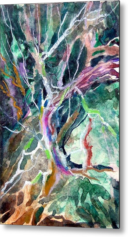 Tree Metal Print featuring the painting A Dying Tree by Mindy Newman