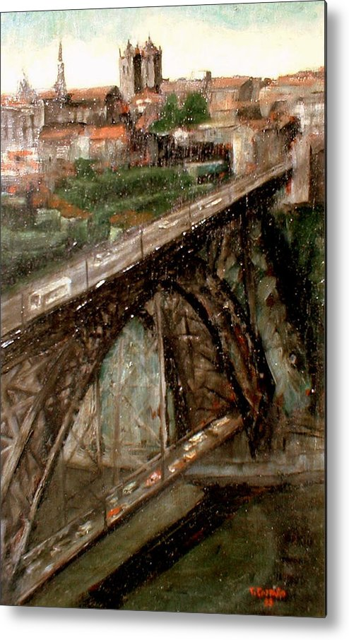 Porto Metal Print featuring the painting Bridge Luis I-Oporto by Tomas Castano