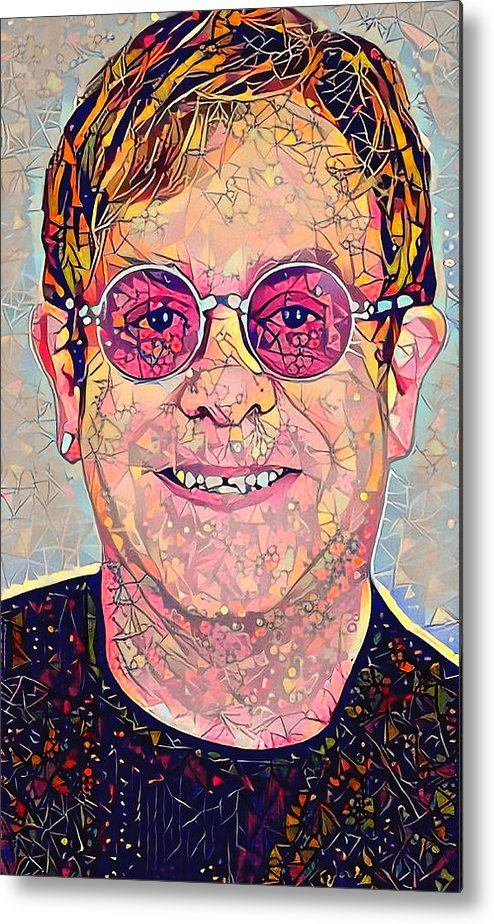 Elton Metal Print featuring the digital art Elton John Triangles Portrait by Yury Malkov
