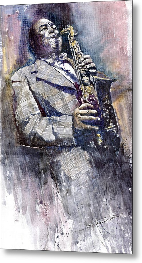 Watercolor Metal Print featuring the painting Jazz Saxophonist Charlie Parker by Yuriy Shevchuk