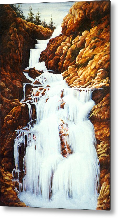 Waterfall Metal Print featuring the painting Little Firehole Falls by Teri Rosario