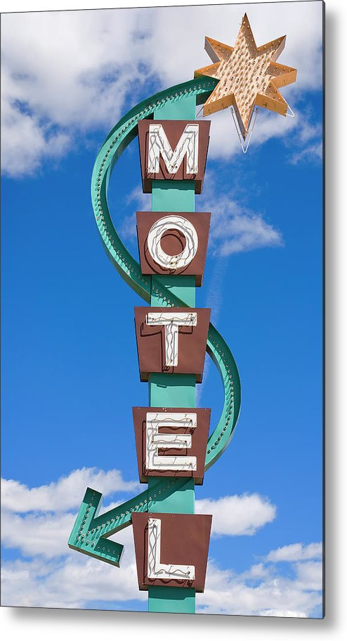 In A Row Metal Print featuring the photograph Classic Motel Sign by Elementalimaging