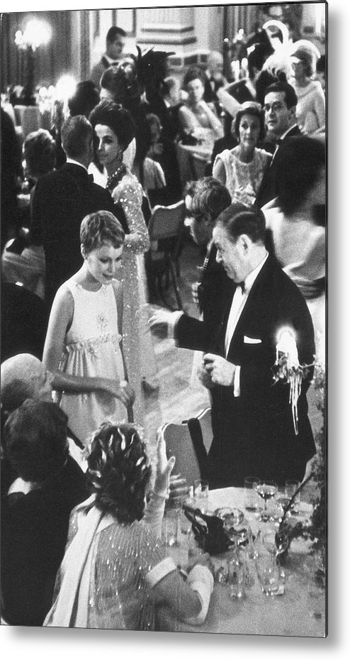 Recreational Pursuit Metal Print featuring the photograph Farrow & Sorenson At Black & White Ball by Fred W. McDarrah