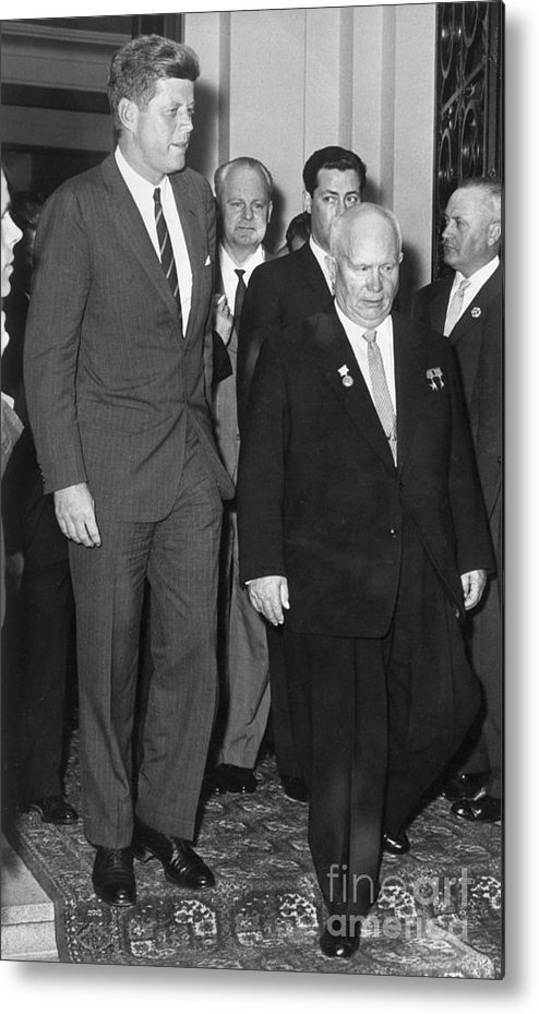 People Metal Print featuring the photograph President Kennedy And Premier Khrushchev by Bettmann