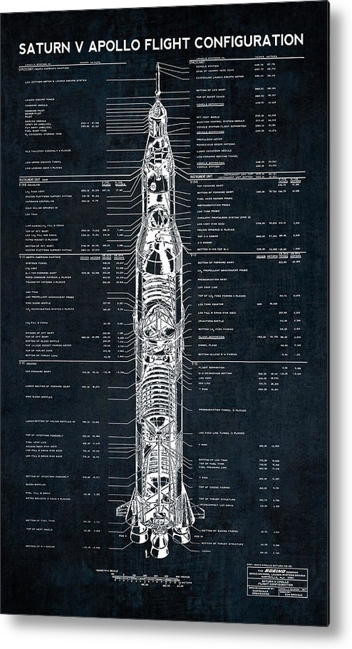 Saturn Metal Print featuring the photograph Saturn V Apollo Moon Mission Rocket Blueprint 1967 by Daniel Hagerman