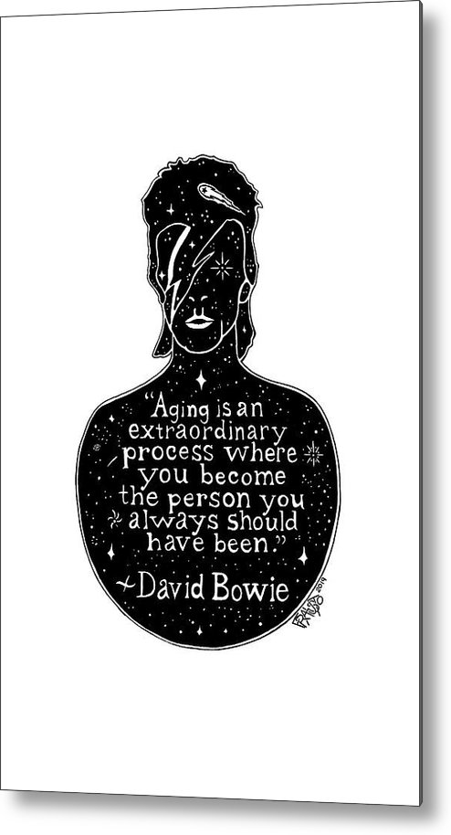 Pen And Ink Illustration Metal Print featuring the drawing David Bowie Drawing by Rick Frausto