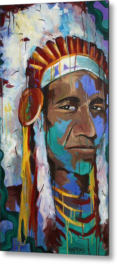 Art Metal Print featuring the painting Chiefing by Julia Pappas