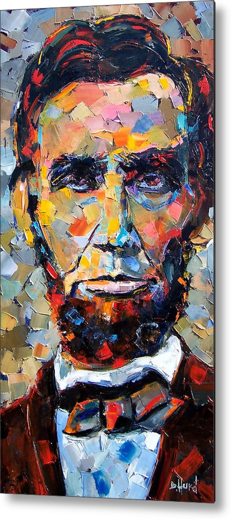 President Metal Print featuring the painting Abraham Lincoln portrait by Debra Hurd