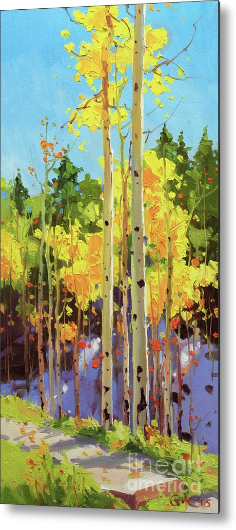 Autumn Aspen Forest Covered In Early Snow Southwestern Rocky Mountain Orange Leaves White Sliver Bark Aspen Trunks Wildflowers Foreground Along Grasses Aspen Trees Golden Yellow Vibrant Colorful Autumn Tree Foliage Giclee Print Landscape Wildflower Elk Mountains Maroon Peak Forest Nature Woods Flowers Trees Summer Spring Flowers Tree Canopy Vibrant Vivid Colorful Colourful Gary Kim Fineart Original Oil Painting Landscape Oil Painting Contemporary Metal Print featuring the painting Golden Aspen in early snow by Gary Kim