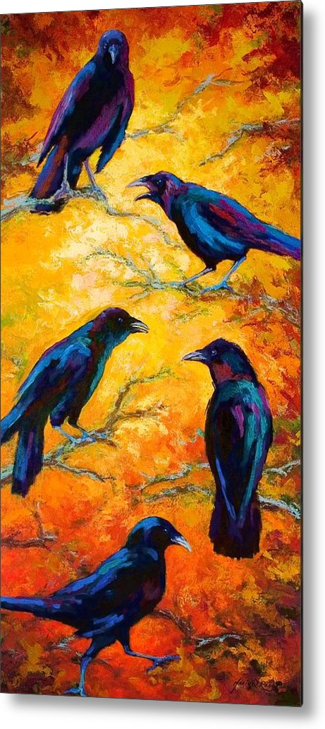 Crows Metal Print featuring the painting Gossip Column II by Marion Rose