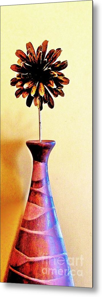 Photo Metal Print featuring the photograph Brown Wooden Flower by Marsha Heiken