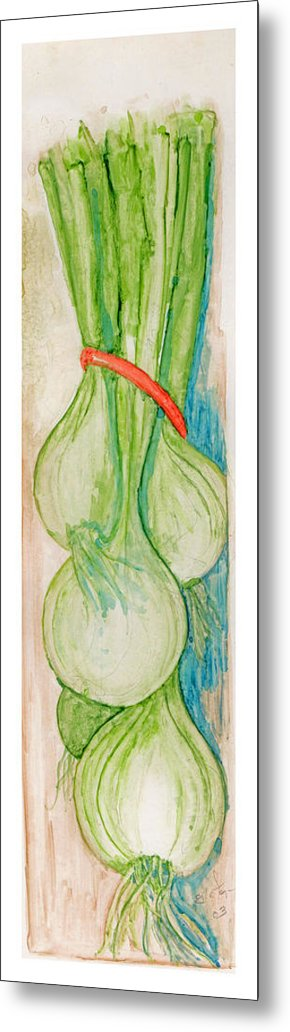 Still Life Metal Print featuring the painting Green Onions by Elle Smith Fagan