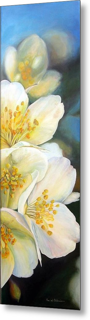 Floral Painting Metal Print featuring the painting Eglantine by Muriel Dolemieux