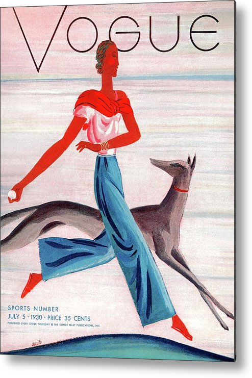 Illustration Metal Print featuring the photograph A Vintage Vogue Magazine Cover Of An African by Eduardo Garcia Benito