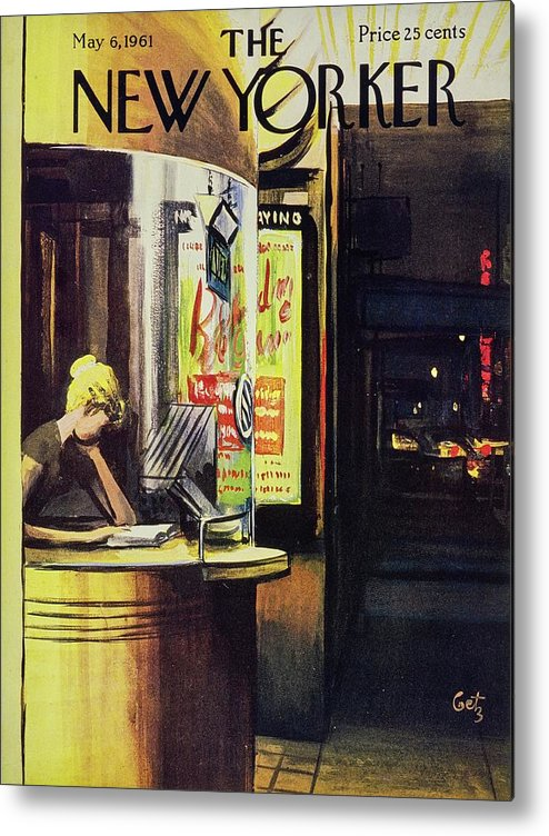 Illustration Metal Print featuring the painting New Yorker May 6th 1961 by Arthur Getz