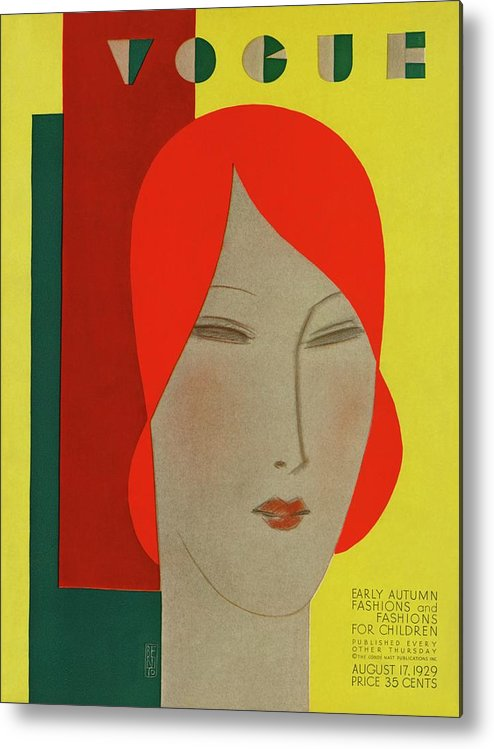 Illustration Metal Print featuring the photograph A Vintage Vogue Magazine Cover Of A Woman by Eduardo Garcia Benito