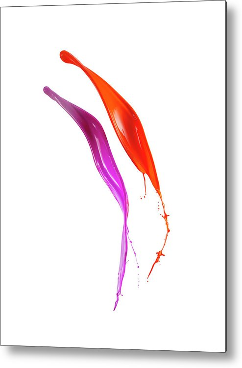 Orange Color Metal Print featuring the photograph Splashing Of The Color Paint by Level1studio
