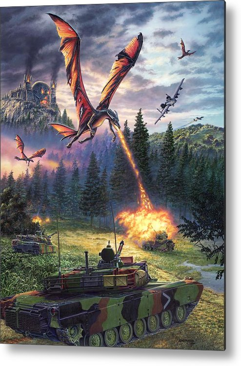 Dragon Metal Print featuring the painting A Clash Of Worlds by Stu Shepherd