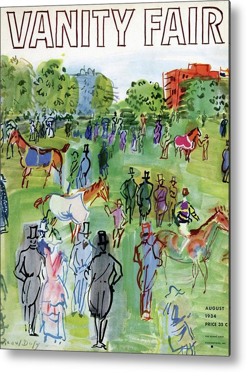 Illustration Metal Print featuring the photograph A Equestrian Scene by Raoul Dufy