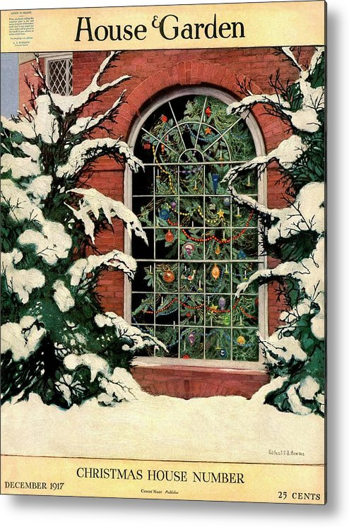 Illustration Metal Print featuring the photograph A House And Garden Cover Of A Christmas Tree by Ethel Franklin Betts Baines