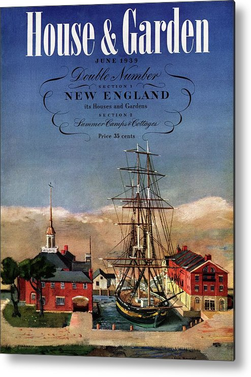 Illustration Metal Print featuring the photograph A House And Garden Cover Of A Model Ship by Louis Bouche